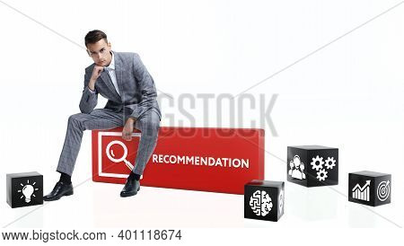 Business, Technology, Internet And Network Concept. Domino Inscription: Recommendation