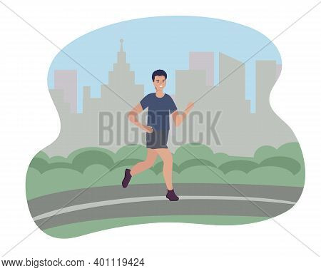 A Man Runs In The City. Sports Training On The Street. Runner In Motion. Marathon And Long Runs Outs