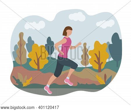 Woman Running Through The Park. Sports Training On The Street. Runner In Motion. Marathon And Long R