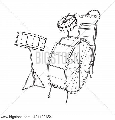 Musical Instruments Set. Rock Band Drum Kit. Percussion Musical Instrument