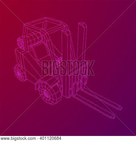 Forklift Loader Lift Truck. Wireframe Illustration.