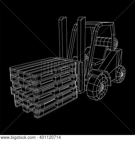 Forklift Loader Lift Truck With Cargo Pallet For Warehouse.