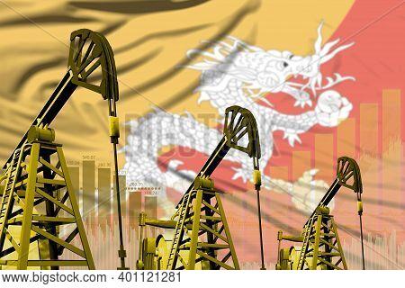 Bhutan Oil And Petrol Industry Concept, Industrial Illustration On Bhutan Flag Background. 3d Illust