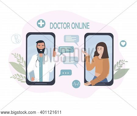 Online Medical Consultation And Care. A Person Talks To A Doctor On A Cell Phone, Using Video Calls
