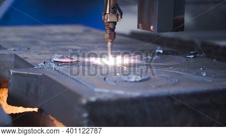 Close-up Of Welding Patterns On Metal. Clip. Automated Machine For Creating Welding Patterns On Meta