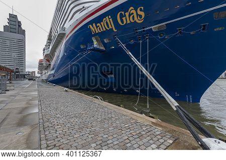 Rotterdam, Netherlands - 2020-12-22: Wide Angle Shot Of Mardi Gras Cruise Ship Of Carnival Lines Mai