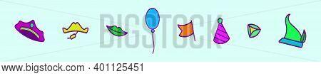 Set Of Happy Purim Element Cartoon Icon Design Template With Various Models. Modern Vector Illustrat