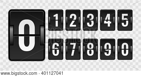 Mechanical Scoreboard. Realistic Countdown Numbers For Counter Isolated On Transparent Background, V