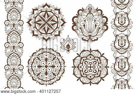 Mehndi Elements. Ethnic Temporary Henna Tattoo Elegant Brown Ornaments, Oriental Seamless Borders An