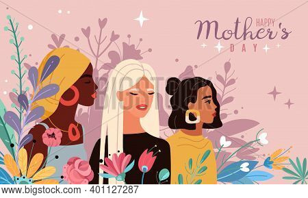 Mothers Day. Women Portraits With Bouquets Flowers, Spring And Love Inspiration Cartoon Poster, Mult