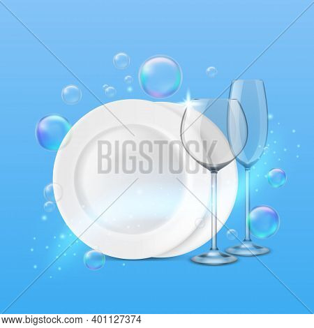 Dish Wash. Realistic Shiny Dishes Cleanness, Fresh Porcelain Plates And Wine And Champagne Glasses,