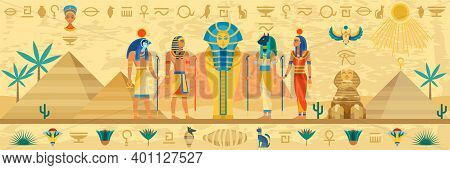 Ancient Egypt. Egyptian Mythology Storyline, Hieroglyphic Frame, Religion Architecture And Idols Sta