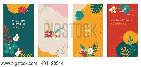 Abstract Flowers Social Media Stories Organic Backgrounds Set With Modern Color Combinations, Shapes