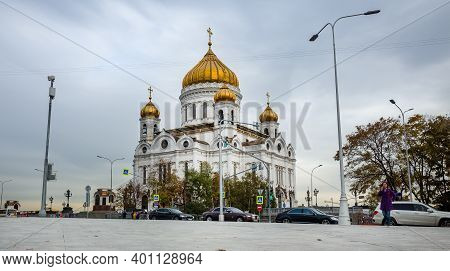 October 9, 2018, Moscow, Russia. The Building Of The Cathedral Of Christ The Savior In Moscow. Autum