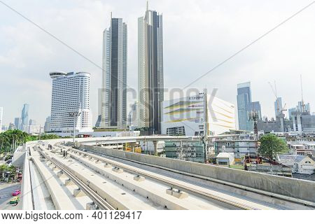 Bangkok,thailand - 19 Decemmber, 2020: View From Sky Train Golden Line Station Of Icon Siam Building