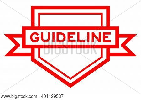 Vintage Red Color Pentagon Label Banner With Word Guideline On White Background