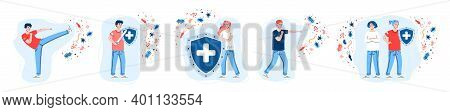 Set Of People Reflecting With Viral Attack By Strong Immune System, Cartoon Vector Illustration Isol
