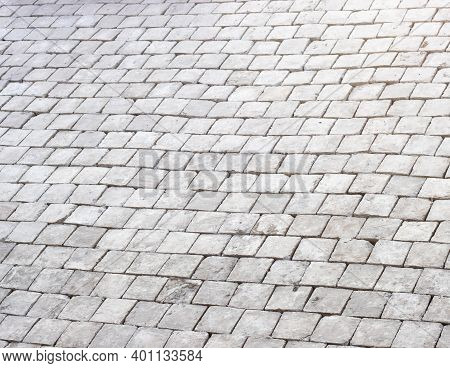 Cobblestone Pavement Abstract Background, Cobblestone Pavement At The Bank Of The River Used To Prot