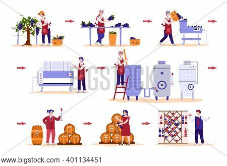 Set Of Winemakers Cartoon Characters Busy With Proceeding Grape And Producing Wine, Flat Vector Illu
