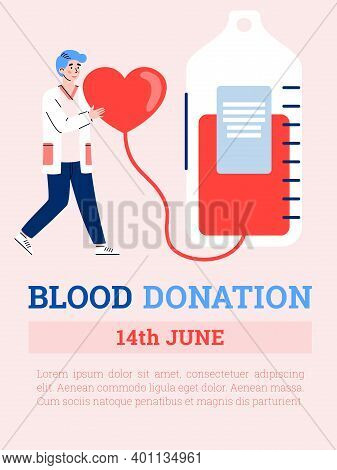 World Blood Day Concept. Awareness About Donate Blood For Save Health And Life People. Vector Flat I
