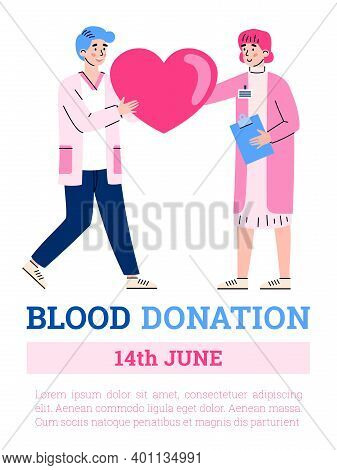 Blood Donation Banner Or Poster Design For World Blood Donor Day, Flat Cartoon Vector Illustration.