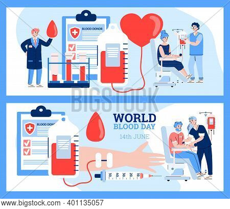 Two Banners With World Blood Day Concept. Donors Sitting In Medical Chairs And Give Lifeblood For Ho
