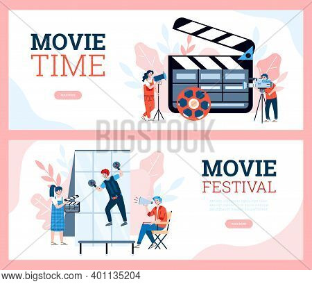 Two Landing Pages Template For Movie Production Festival. Filmmaking Crew On Shooting Video Cinema F