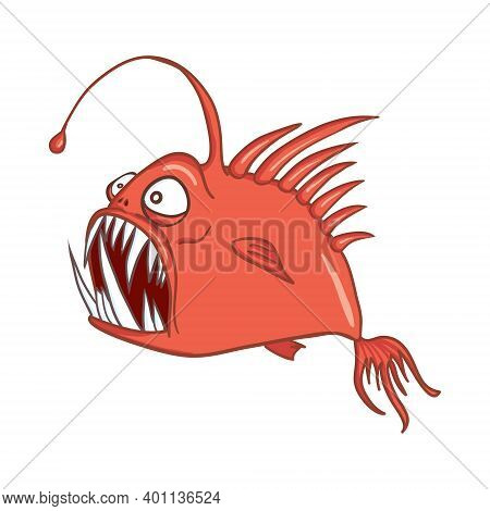 Digital Illustration Of A Scary Red Angler Fish
