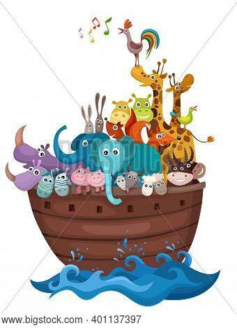 Noahs Arc Illustration With Cute Funny Animals