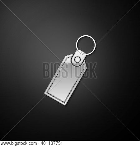 Silver Rectangular Key Chain With Ring For Key Icon Isolated On Black Background. Long Shadow Style.