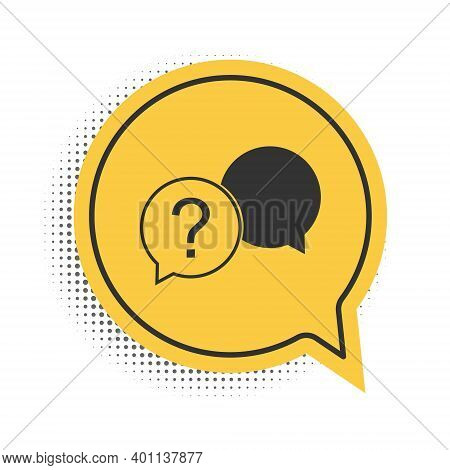 Black Chat Question Icon Isolated On White Background. Help Speech Bubble Symbol. Faq Sign. Question