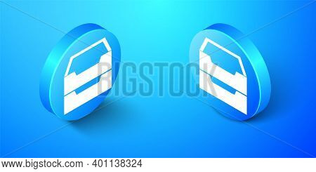 Isometric Drawer With Documents Icon Isolated On Blue Background. Archive Papers Drawer. File Cabine