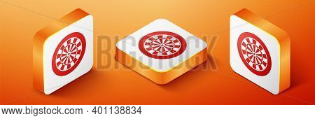 Isometric Classic Darts Board With Twenty Black And White Sectors Icon Isolated On Orange Background