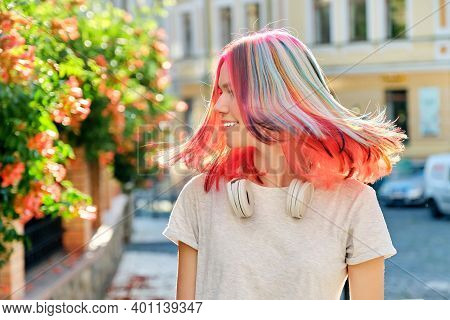 Hairstyles, Hairs, Fashion, Trends, Coloring. Close-up Of Fluttering Colored Dyed Hair Of Young Woma
