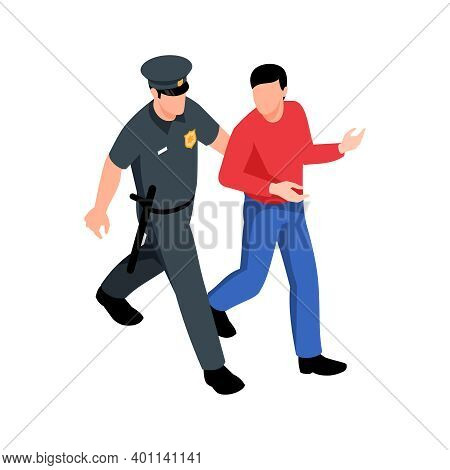 Isometric Policeman Going With Arrested Man 3d Vector Illustration