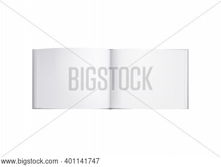 Books Albums Mockup Realistic Composition With Opened Square Album With Blank Pages Vector Illustrat