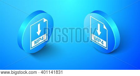 Isometric Mp4 File Document Icon. Download Mp4 Button Icon Isolated On Blue Background. Blue Circle
