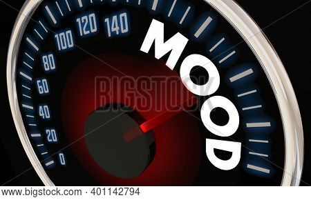 Mood Speedometer Sentiment Rising Good Feeling 3d Illustration
