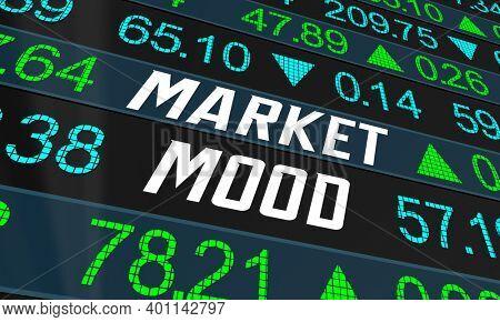 Market Mood Index Stock Investor Sentiment Economic Indicator 3d Illustration