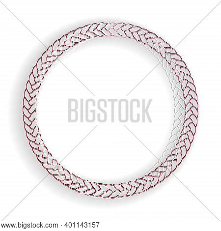 Paper Cut Rope Frame Icon Isolated On White Background. Frames From Nautical Rope. Round Marine Rope