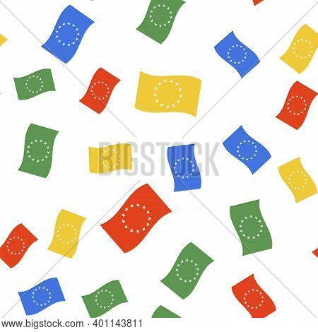 Color Flag Of European Union Icon Isolated Seamless Pattern On White Background. Eu Circle Symbol. W