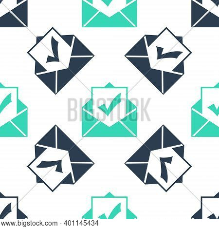 Green Envelope With Document And Check Mark Icon Isolated Seamless Pattern On White Background. Succ