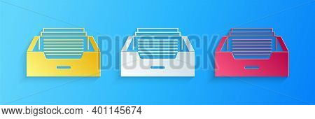 Paper Cut Drawer With Documents Icon Isolated On Blue Background. Archive Papers Drawer. File Cabine