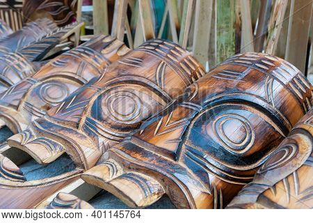 Wooden Masks Or Tribal Masks, Handicrafts, On Display During The Handicraft Fair In Kolkata - The Bi