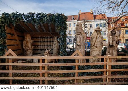 Christmas Nativity Scene, Wooden Figures At The Main Masaryk Square Of Historic Medieval Royal Town