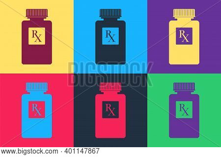 Pop Art Pill Bottle With Rx Sign And Pills Icon Isolated On Color Background. Pharmacy Design. Rx As