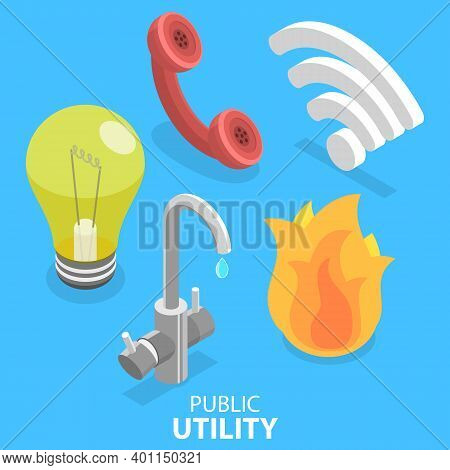 3d Isometric Flat Vector Illustration Of Utility Services Icon Set.