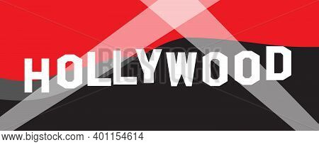 Hollywood Letter Sign With Color Background And Searchlights As A Background