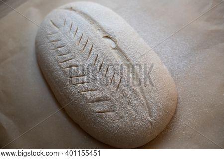 Homemade sourdough bread food photography recipe idea - before baking