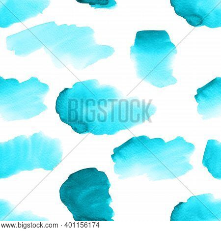 Seamless Pattern With Light Blue Watercolor Brushstrokes. Hand Drawn Illustration Isolated On White